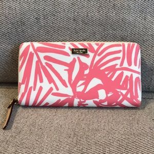 Authentic Kate Spade Pink & White Palm Wallet